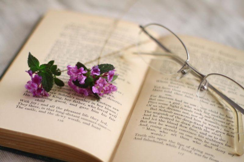 本と眼鏡と紫の花